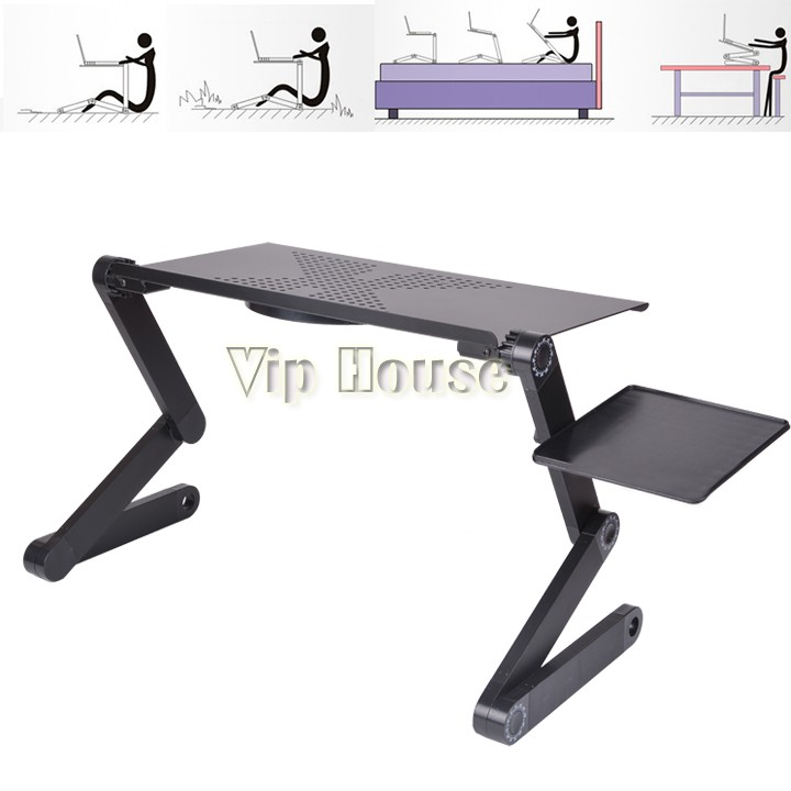 nouveau 360 grau pliable r glable pc portable bureau support de table ventilateur portable bed. Black Bedroom Furniture Sets. Home Design Ideas
