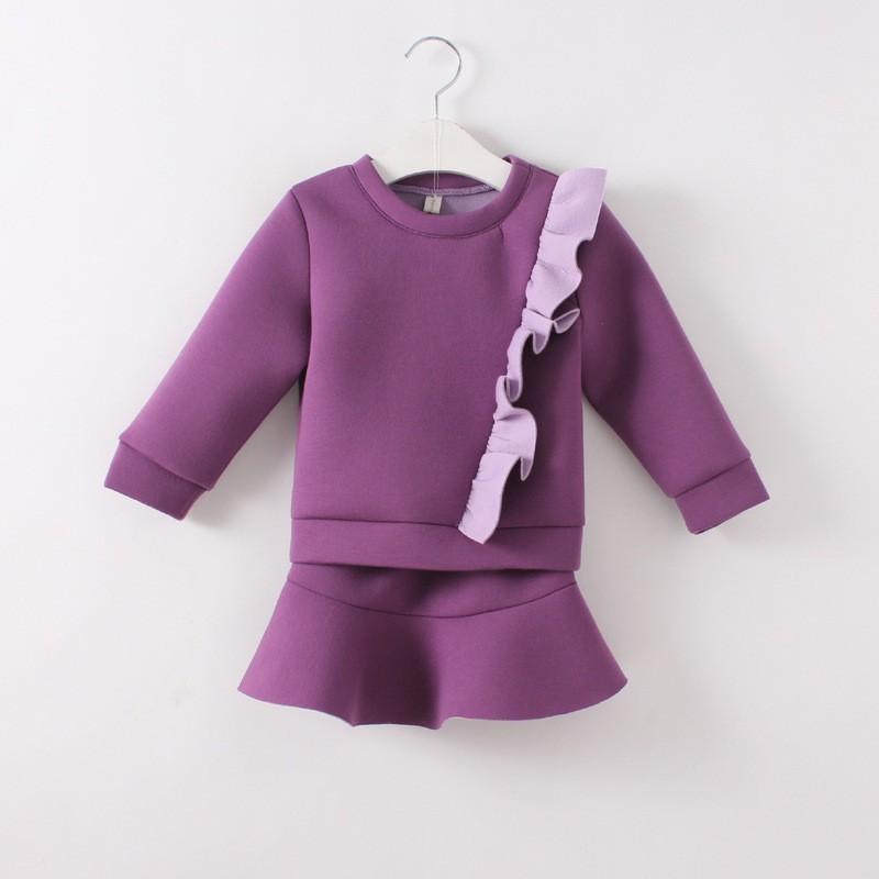 Скидки на Девушки одежда набор новый осень девушки одеваются пространство хлопка свитер пальто 2 ШТ. + юбка балетной пачки девушки одежда