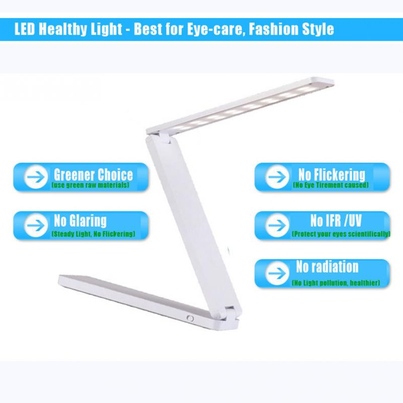 Eye Protection Three Folding Portable LED Desk Lamp Dimmable Mini USB Interface Rechargeable Table Lamp -OD(China (Mainland))