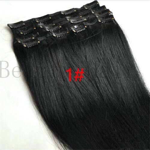 Free Shipping AAA Grade 100%Malaysian Virgin Remy Human Clips In Hair Extension 8pcs/lot Full Head Clips Ons Hair Silky Straight<br><br>Aliexpress