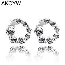 Silver plated lucky pentagram earrings female models fashion crystal jewelry cute vintage jewelry factory wholesale