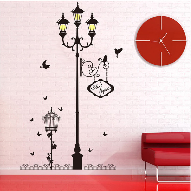 1pcs Street Lights Birds Wall Sticker Home Bedroom Decor Accessories Decals Living Room Hall Poster Mural Decorative Wallpaper(China (Mainland))