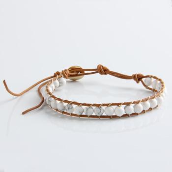 1 Strands кожи белый бирюза 6 мм бусины обертывание браслет для женщин и мужчин ручной ...