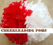 "cheerleader baton Pom pom half red and half white style one piece 6""(China (Mainland))"