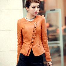 3XL Plus Size Women Faux Leather Jacket High Quality PU Autumn Outerwear Black/Blue/Orange/Pink/Slim Coat QY038(China (Mainland))
