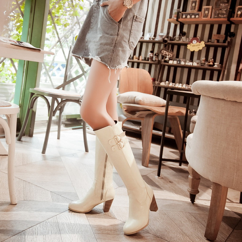 Fashion Thick High Heels Knee High Boots For Women Sexy Round Toe Metal Buckle Zip Motorcycle Boots Hot Sale Shoes <br><br>Aliexpress