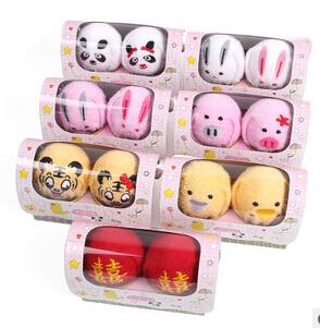 20sets/lot Kawaii animal shape cake towel valentine's day wedding gift(China (Mainland))