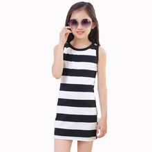 2016 Hot Sale 5 7 8 10 11 12 14 Years Girls Stripe Seeveless Rainbow Cotton Brand autumn Summer Girl Dress Tutu Dresses For Girl