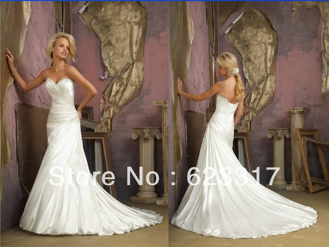 Free Shipping 2014 Sweetheart A Line Satin Destination Wedding Gowns Lace Up Back 1865(China (Mainland))