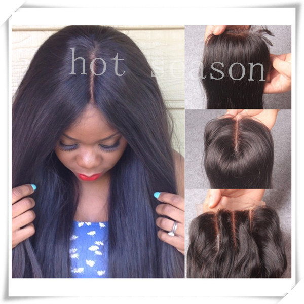 Virgin Brazilian Straight Closure With Bleached Knots 4x4 Lace Closure Straight 9A Grade Hot Virgin Brazilian Human Hair Closure(China (Mainland))
