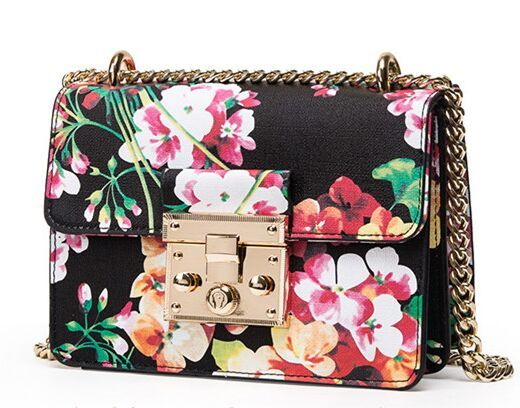 Цветок печати глава блокировки hasp цепи плеча сумку, Новый весной и летом моделям с подиума небольшой crossbody слинг мешки