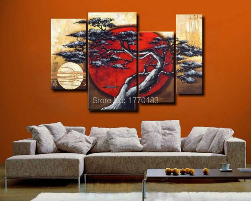 Handmade Abstract Tree landscape Painting Oil 4 Piece canvas art Set Pictures Modern Wall Decor red sun art japan Decorative art(China (Mainland))