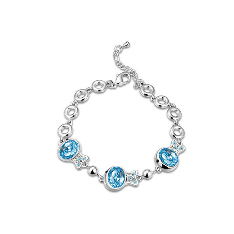 high quality fashion jewelry wholesale 18ct white gold plated friendship bracelet made with SWA elements crystal(China (Mainland))