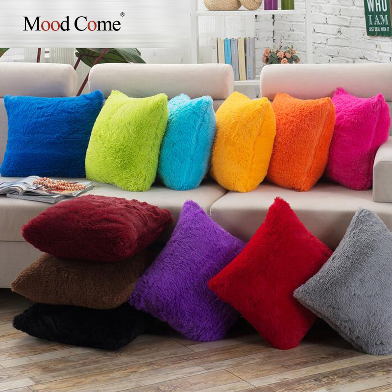 Soft Shaggy Sofa Cushion Cover Solid Color Throw Pillow Covers Cushion Case Decorative Pillow Case Plain Blue Red Coffee 45x45(China (Mainland))