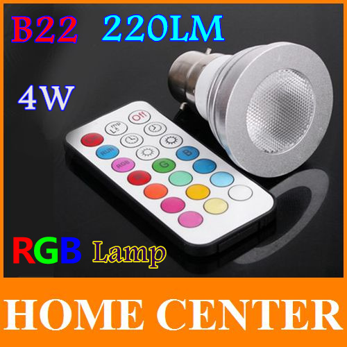 RGB LED bulb lamp 4W 220LM B22 LED Light Bulb Lamp with Remote Control Free shipping<br>