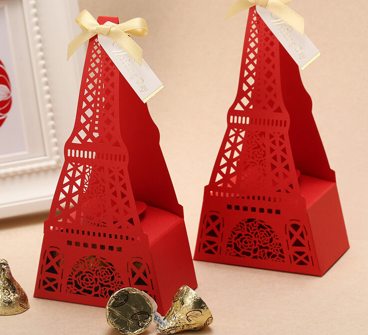 Sale Creative Hollow Eiffel Tower Wedding Favor Candy Boxes Favor Gift ...