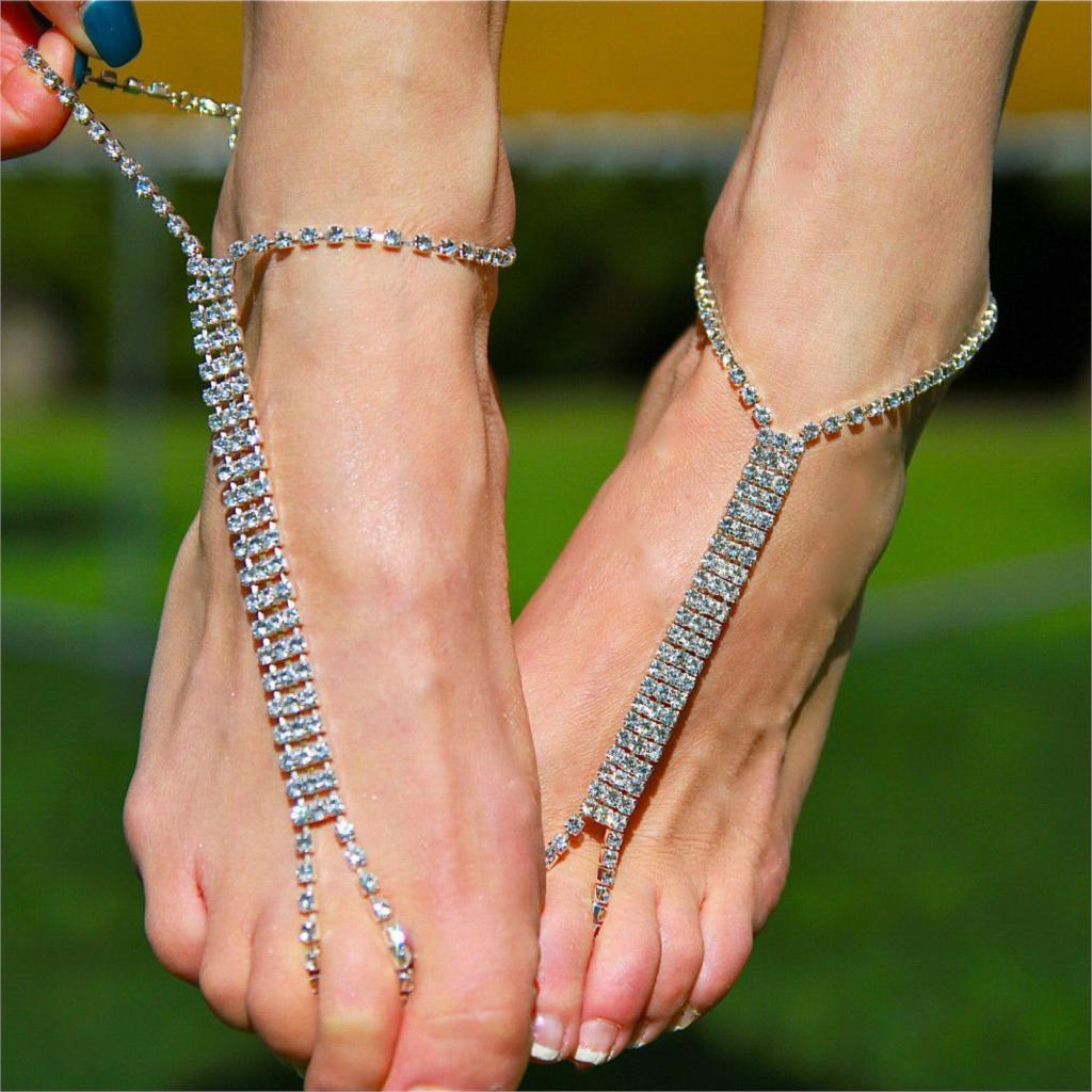 TFGS 10 x (Босиком пляжные сандалии Люкс/свадьбы diamante ножной браслет ног ювелирные изделия