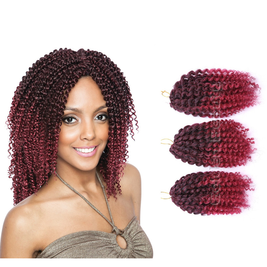 3pcs/set Colorful 8 10inch Afro Kinky Curly Crochet hair extensions of ...