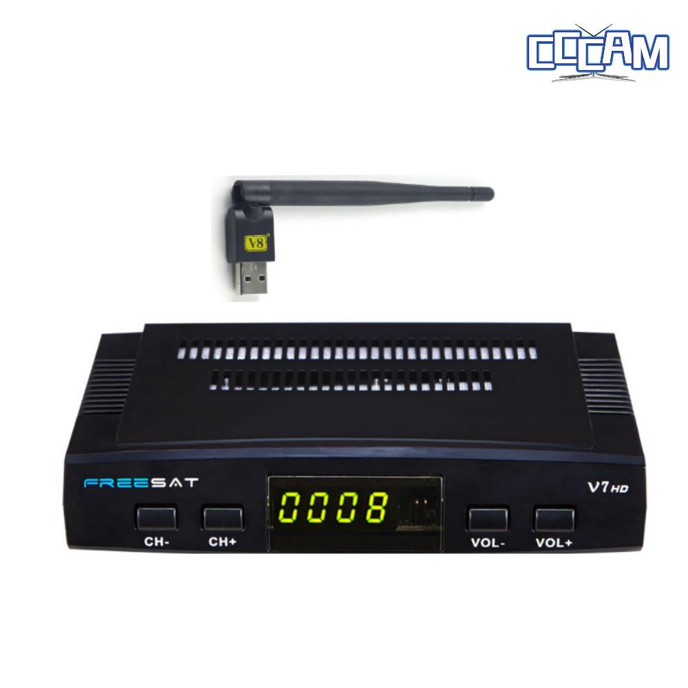 CCCAM Cline Europe + DVB-S2 Freesat V7 Satellite TV Receiver Set Top Box DVB-S2 Support powervu,Cccam, youporn with USB wifi(China (Mainland))