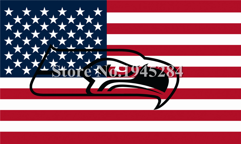 NFL Seattle Seahawks Hollow Out Shape With US Flag New 3x5ft 150x90cm 100D Polyester Flag Banner, free shipping(China (Mainland))