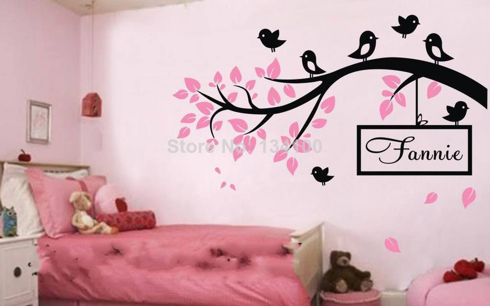 Customer-made Birds Branch Wall Sticker/Decor Vinyl Decal Kid Nursery Baby Decor Personalised Name-You Choose Name and Color(China (Mainland))