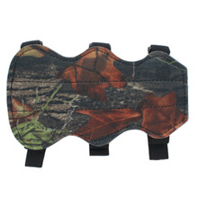 Archery Bow Arm Guard Protection Forearm Safe 3 Strap Camo Leather New