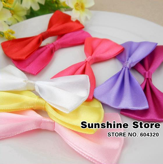 hairbows Fashion Bow Headband Infant Baby Hair Accessories Children Pure color satin bow Girl Headbands Flower #8W0001 24pcs/lot(China (Mainland))