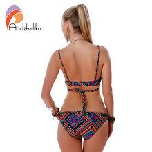 swimwear bikini sexy beach swimwear ladies sexy Bandage Printing Low Waist swimsuit bathing suit brazilian maillot de bain Y176