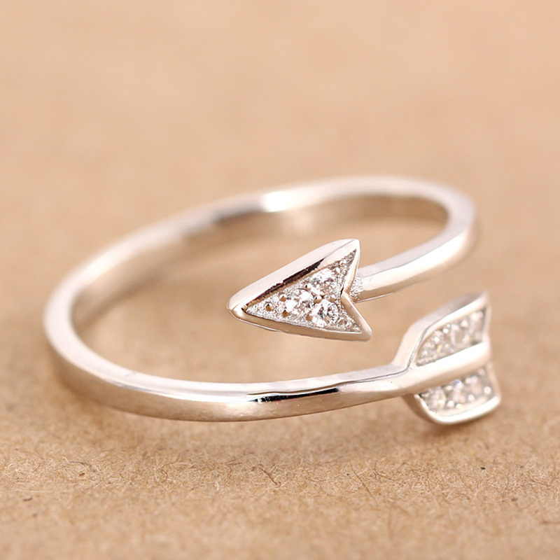 100% 925 Sterling Silver Fashion Cute Arrow Cockatil Rings ...