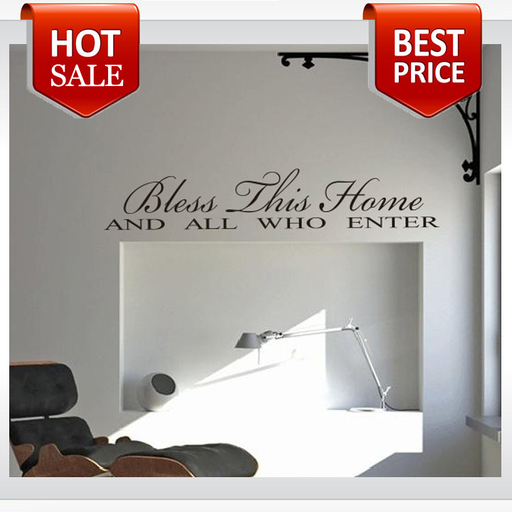 Bless This Home home decoration creative quote wall decals Family Design Vinyl Qoutes Wall Decal(China (Mainland))