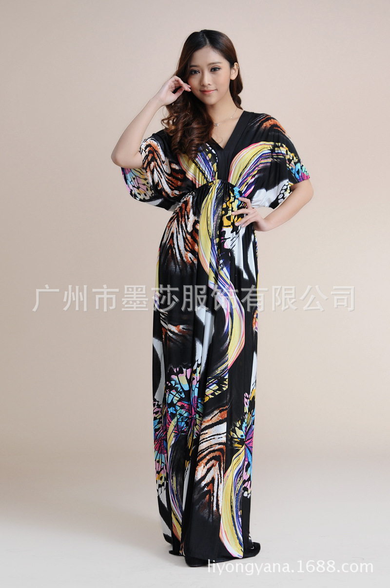Europe And The United States Code Of Bohemia Folk Style Double V Collar Striped Silk Dress Sexy Beach Dress(China (Mainland))