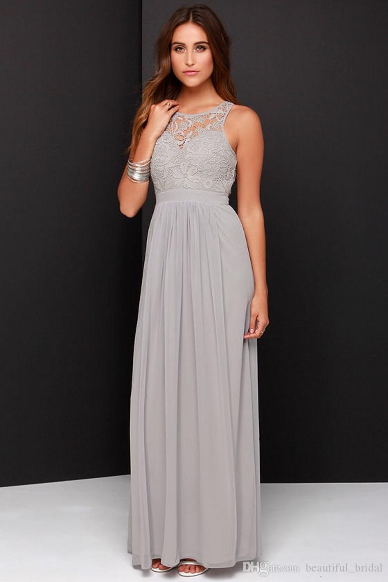 2016 spring grey bridesmaid dresses long chiffon a line for Lace maxi wedding dress