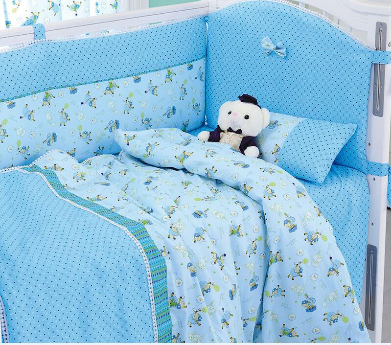 8 Pieces Set Blue Sheep Baby Bedding Set Baby Nursery Cot Crib Bumper Quilt Fitted Sheet Dust Ruffle With Quilt(China (Mainland))