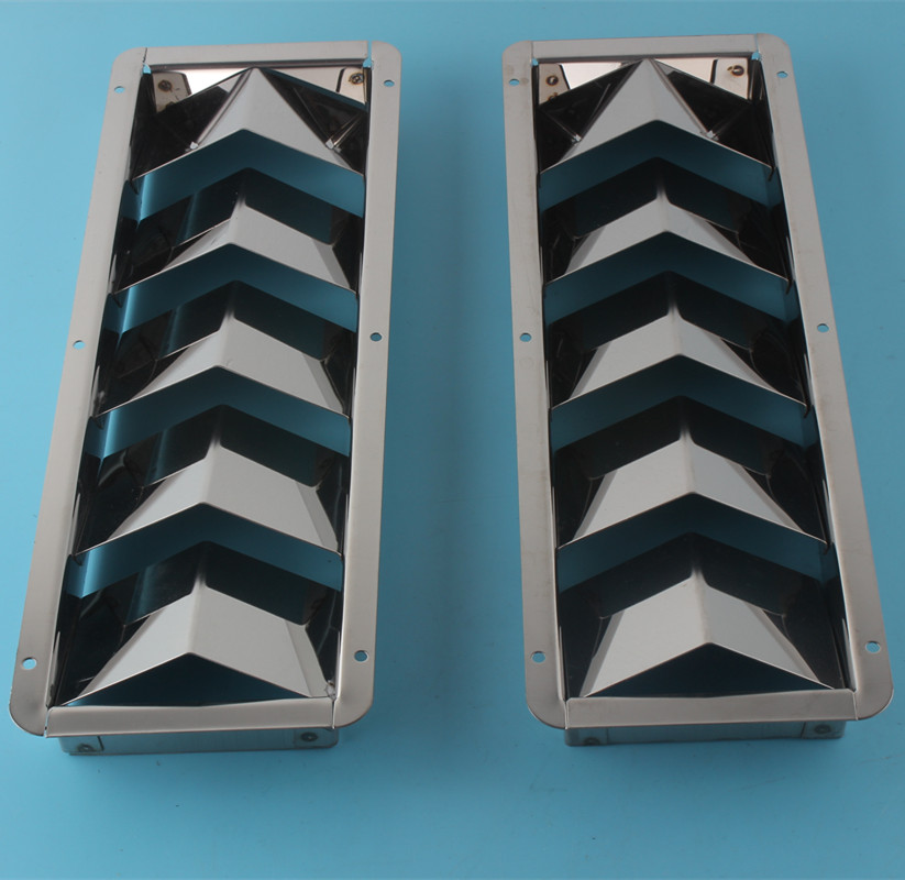 5 Louvered Stainless Steel Bilge Vents 4-3/8 inch Width Marine Boat Vents 2 Pieces(China (Mainland))