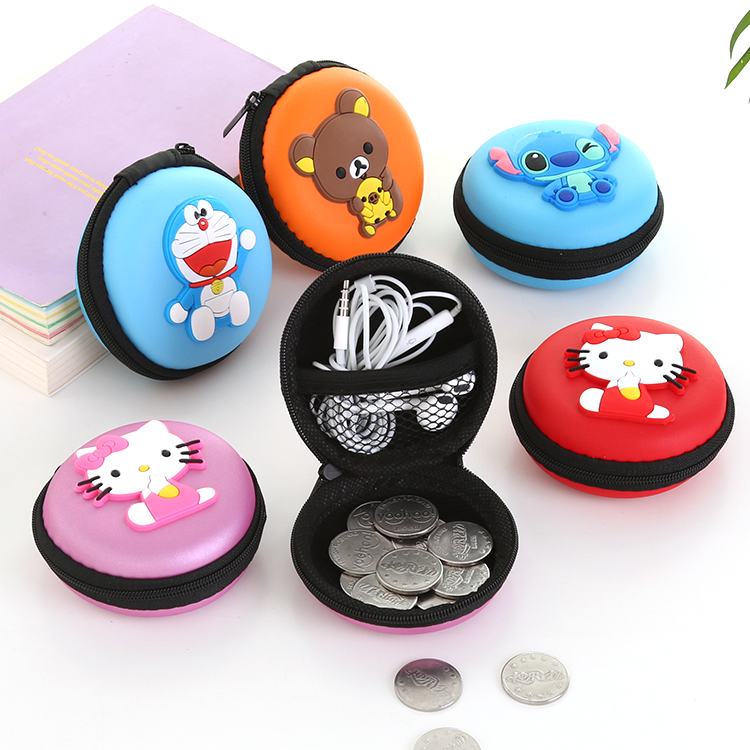 New Cute Girls Mini Coin Purse Brand Child Silicone Round Small Pouch Wallet Case Box Rubber Key Animal Bag for Earphone(China (Mainland))