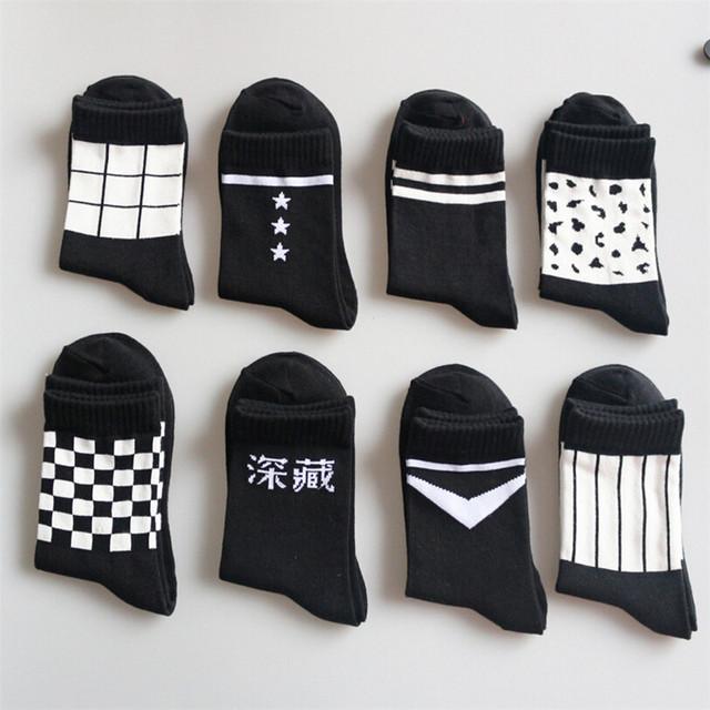 Корея Мода Черный Белый Характер Моделей Мужчины Женщины Хлопчатобумажные Носки Спортивные ...