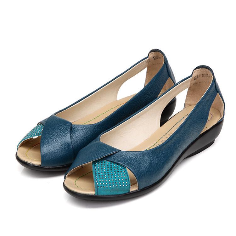 Buy Summer Chic Sandals Elastic Adjustment Flat Peep Toe Leather Shoes At Banggood Chinaprices Net
