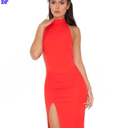 Backless Red Long Maxi Dress Vestidos Longo High Split Sexy Evening Party Dresses Ankle-Length Slim Hip Long Dress Plus Size DF