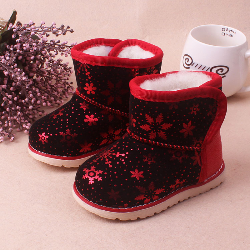 Girls Boots Toddler Winter shoes with Plush fur Baby Snow Boots Keep warm Kids Footwear 13.5-16cm botas de neve(China (Mainland))