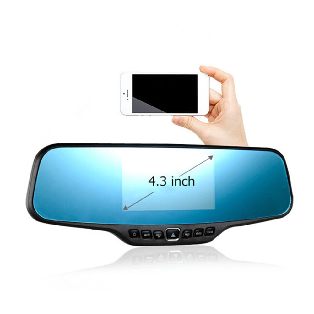 Night Vision Car DVR Dual Camera Video Recorder AllWinner 4.3 inch Full HD 1080P Car Rearview Mirror DVR Car Camera Parking(China (Mainland))