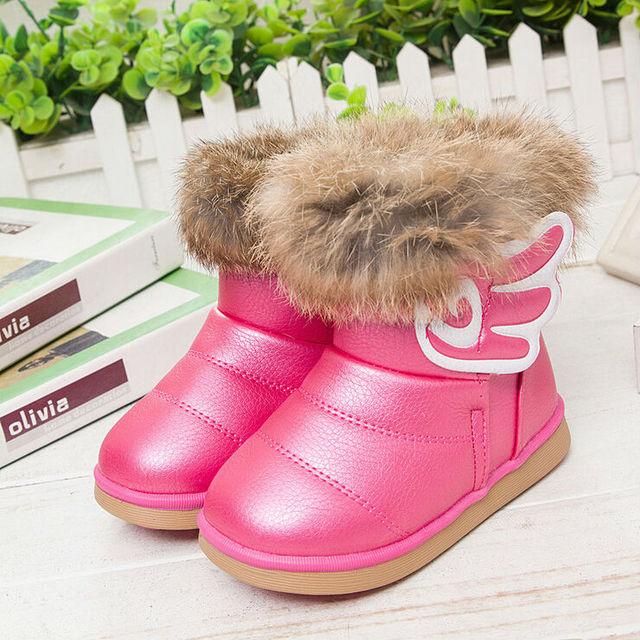 Новинка детская зимой мех кролика снегоступы детей теплую обувь девочка сапоги плюш водонепроницаемый сапоги Eur 21 - 30