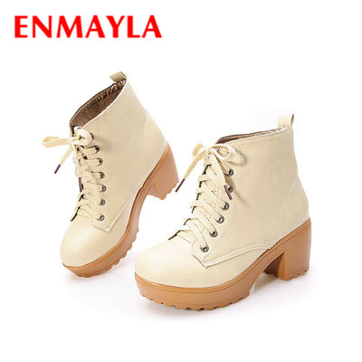 ENMAYER new  autumn boots spring women boots, Artificial high heel Platform lace up ankle boots girls shoes big size 34-43