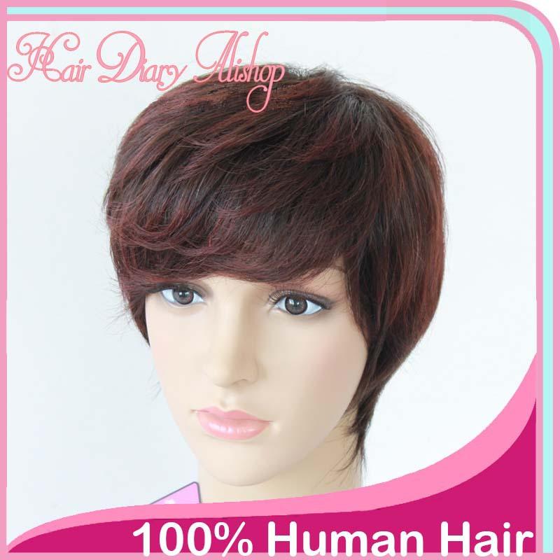 Brazilian short hair wigs straight human hair dark brown best nature african american hair cheap remy wigs for black women(China (Mainland))