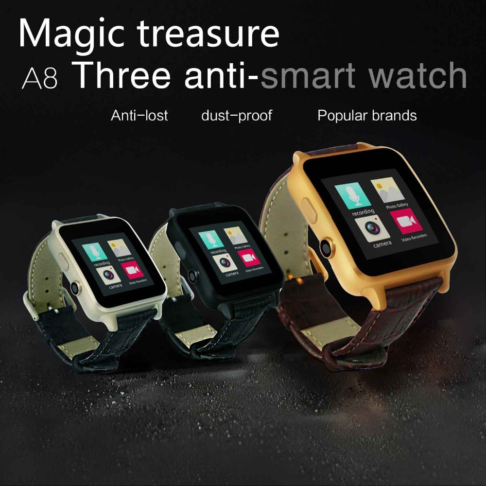 2016 Bluetooth Heart Rate Smart Watch A8 Reloj Inteligente Leather Strap 2MP Camera Curved Surface for Android iOS Smartphone