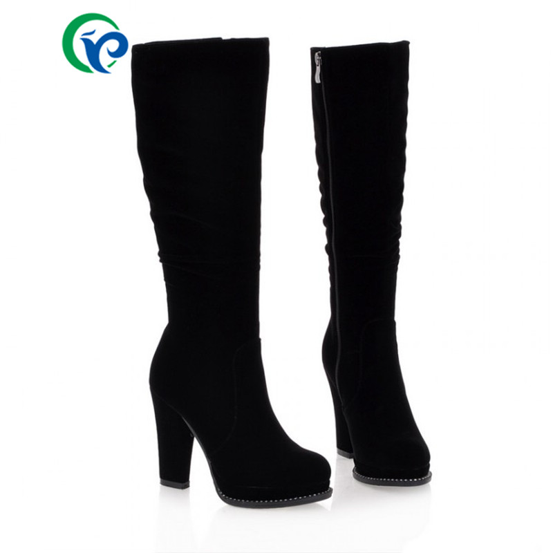 2016 PU Leather Boots Spring Autumn Black Women Boots Platforms Square Heel Shoes 34-39 Knee High Heels Boots Women Round Toe <br><br>Aliexpress