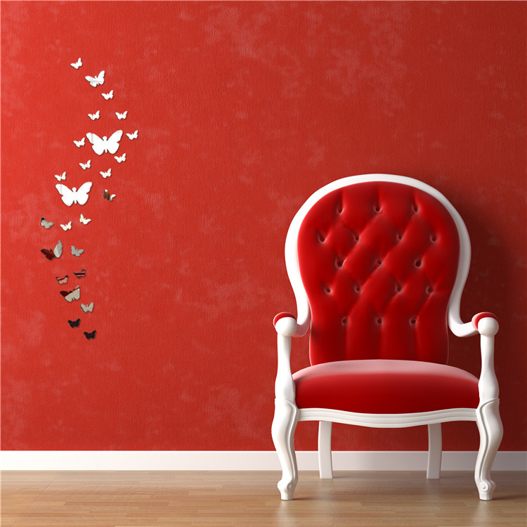 Hot New Hot Acrylic 3D Butterfly Design Mirror Effect Wall Sticker Artistic Room Decor home decoration drop shipping(China (Mainland))