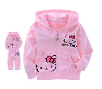 2014 New Cute Hello Kitty Summer Autumn Clothing short/Long sleeve T-shirt+Pants Children Wear Kids Clothes Free Shipping