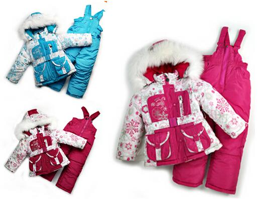 DT0149  Children's Winter Clothing Set Baby Girls Ski Suit Sets Windproof Flower Warm Coat Fur Jacket + Bib Pants + Wool Vest(China (Mainland))