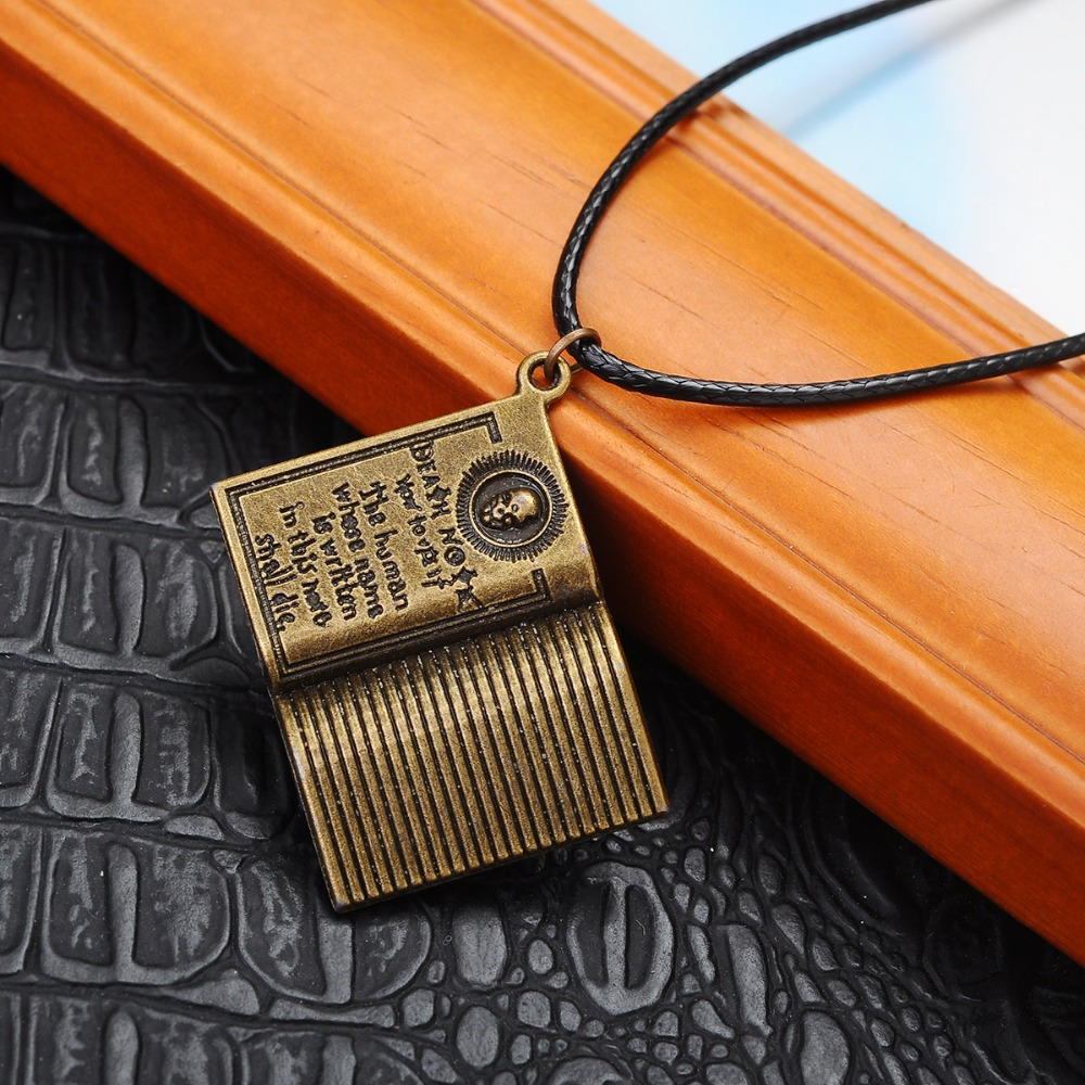 new Death Note necklace size 3*2.3cm Skull pendants letter stripe book Accessories jewelry men choker charm women girl gift(China (Mainland))