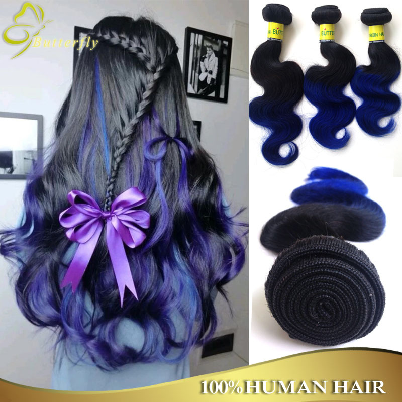 Malaysian 7a Body Wave Blue Ombre Weave Cheap Remy Human Hair Weave 3Pcs Ombre Hair Extension Wet And Wavy Virgin Hair Body Wave<br><br>Aliexpress